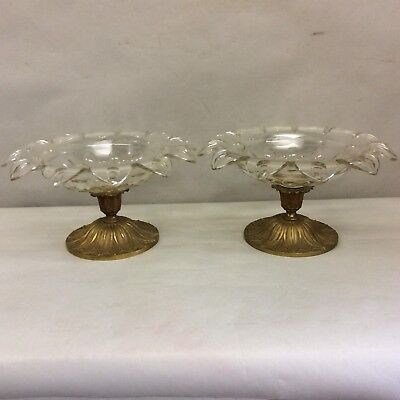 """Pair of Finely Cut Crystal and Brass Centerpiece Compotes 12"""" Diameter"""