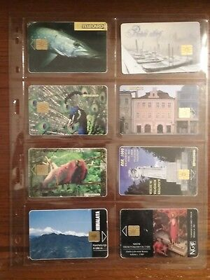 8 used phone cards from the Czech Republic