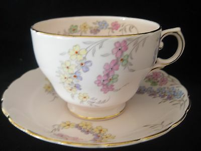 Vintage English Tuscan China Pale Pink Breakfast Cup & Saucer Hand Painted