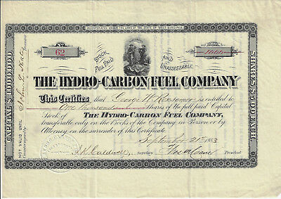 WEST VIRGINIA 1883 The Hydro Carbon Fuel Company Stock Certificate #62