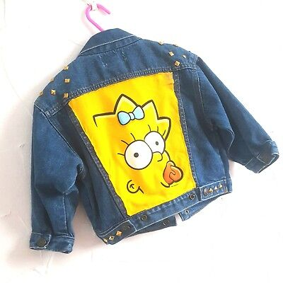 Vintage Kids Boys Girls The Simpsons Maggie Retro Kitsch 2-3 Denim Jacket Punk