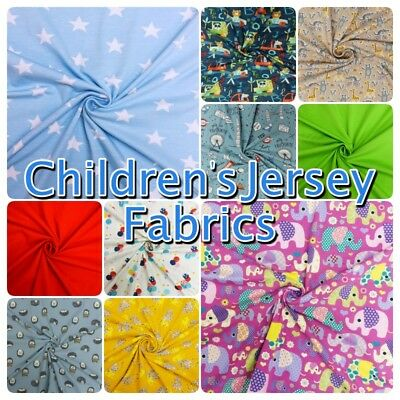 Colourful Soft Children's Cotton Stretch Knit Jersey Dress Fabric -Sold per 1/2m