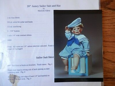 """Jamey Sailor Suit & Hat 20"""" Doll Pattern by Marilynn Aldred"""