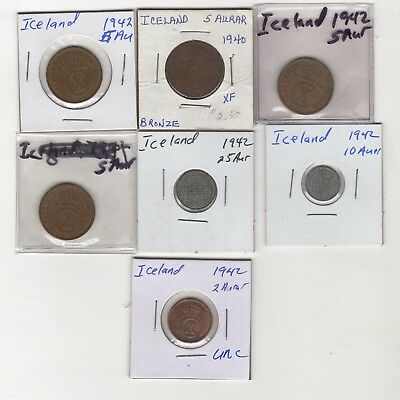 Iceland Coin lot, Aurars 1940s 7 coin lot circ- Unc
