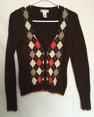 Kenar Womens Vest Sz Small 100 % Cashmere Brown Argyle Pattern Long Sleeves