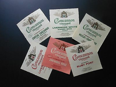 6 Vtg Wine Bottle Labels Concannon Ruby Port, Livermore Red & White, Zin. Rose'+