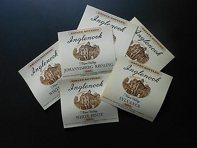 6 Vtg Wine Bottle Labels Inglenook Johannisberg Riesling, Sylvaner & White Port