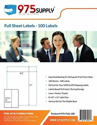 "975 Supply Labels Shipping Full Sheet 8.5 x 11"" 100 Labels/Pack"