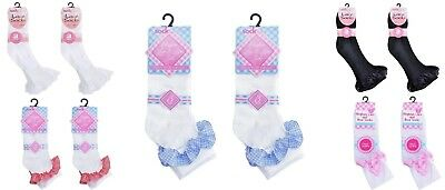 6 and 12 Pairs Girls Cotton School Socks for Kids, Frilly Lace Ankle