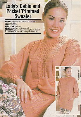Lady's Cable & Pocket Trimmed Sweater Pattern For Machine Knitting