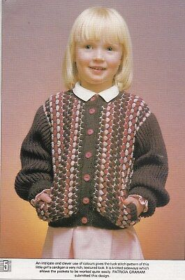 Child's Multi-Coloured Cardigan Pattern For Machine Knitting
