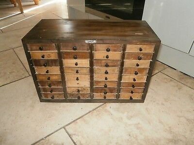 Antique wooden machinists tool cabinet 32 drawers