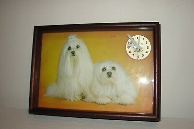 Vintage Mid Century Shadow Box Wall Clock 3-D Plastic Maltese Dogs Made in Italy