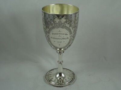 HEAVY, INDIAN solid silver PRESENTATION GOBLET, c1890, 505gm