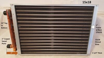 """15 x 18  Water to Air Heat Exchanger 1"""" Copper ports"""