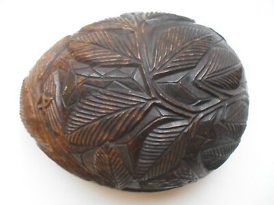 Vintage Carved Coconut in 2 Halves  Leaf Design    Box Caddy  could be African