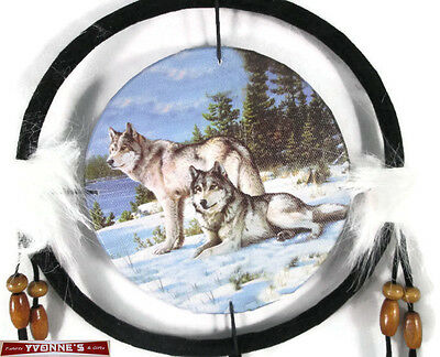 "6.5"" Wolfs In Snow Dream Catcher With Beads,Fur & Feathers Wall Or Decoration"