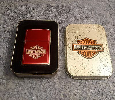Zippo Lighter Harley Davidson Bar and Shield Red Anodized 685HD-H263