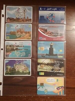 9 used phone cards from Egypt and Middle East