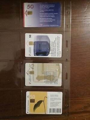 4 used phone cards from Lithuania