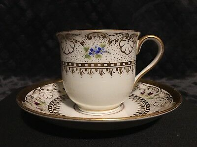 """Vintage MEISSEN Ornate Hand Painted Gold Porcelain Tea Cup And Saucer NoReserve"""""""
