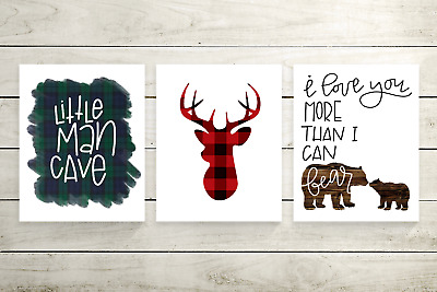 Woodland Animal Nursery Wall Art - Rustic Plaid Little Man Cave, Deer, Bear Boy