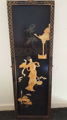 Large Vintage / Antique Japanese Black Lacquered Wall Panel