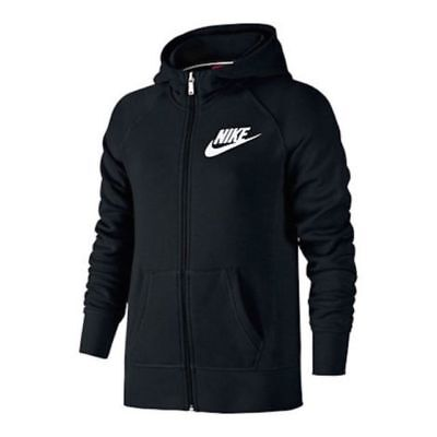 Nike Youth Girls Full Zip Hoodie Sweatshirt 839473 010 Black White NWT