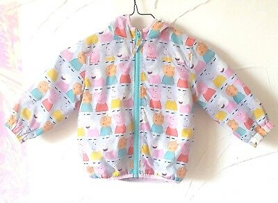 NEXT Girls Grey Peppa Pig Grey Anorak Jacket Hoodie Mac Coat 1.5-2Years Animals
