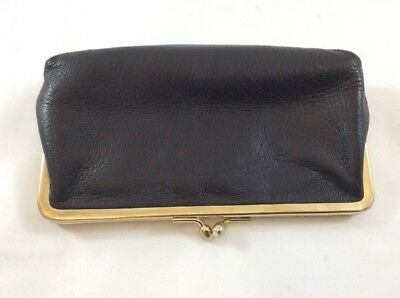 Vintage Black Leather Kisslock Small Leather Pouch Made In Italy