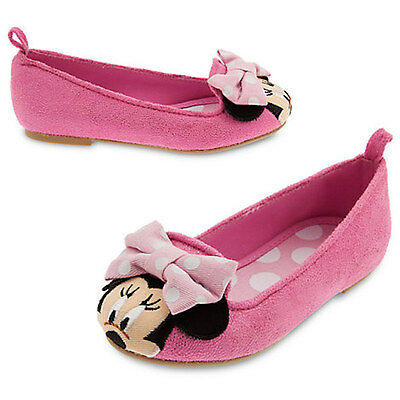 NWT Disney Store Minnie Mouse Pink Dress shoes Flats SZ 9,10,11,12 Girls