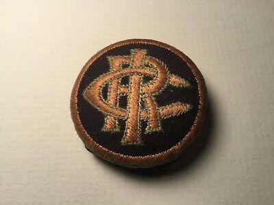 Interesting Old Large Fabric On Wood  Button With Monogram CIR or CRI -Military?
