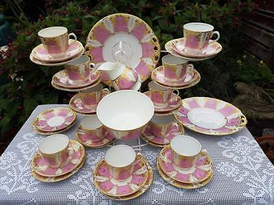 37 x Antique English porcelain Pink & Gold Leaves pattern tea service