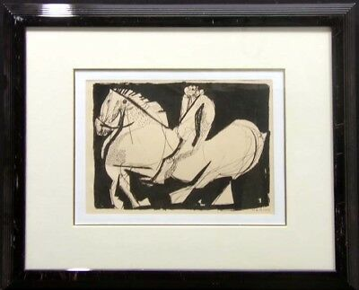 Marino Marini Scenery Vintage Framed Original Lithograph horse MAKE an OFFER
