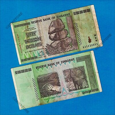 50 Trillion Dollars Zimbabwe Banknote AA 2008 Authentic Uncirculated Currency