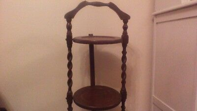 Antique Vintage Wooden Folding 3 Tier Afternoon Tea Cake/Plant/Pan Stand