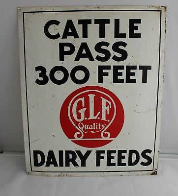 Metal Sign Cattle Pass 300 Feet Advertising G.l.f. Quality  Dairy Feeds