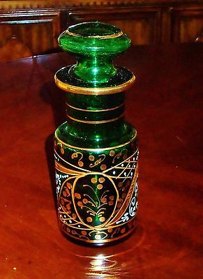 Antique Decanter / Jar Emerald Green and Painted with 24K Gold white Accent– Han