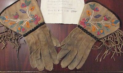 Antique Assiniboine Beaded Gauntlets ( note says gifted by Chief Rattlesnake  )