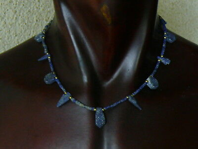 (eV159) Beautiful UNISEX Necklace Egyptian style, hand carved Lapis beads 18""
