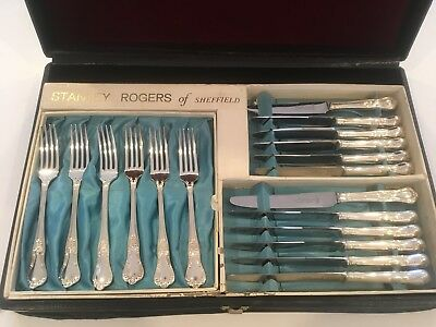 Vintage Silver Plated/Stainless STANLEY ROGERS Boxed Cutlery Set Countess design