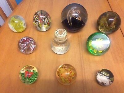 Assorted Glass Paperweight Collection X 10 One Signed Paul Heller - Langham