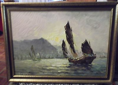 Kowloon Vintage SIGNED/dated Oil Painting Framed in1965 Marshall Field -Chicago