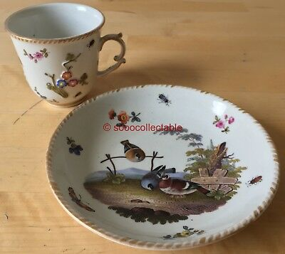 antique MEISSEN porcelain relief moulded BUTTERFLY PIGEON BIRDS CUP & SAUCER DUO