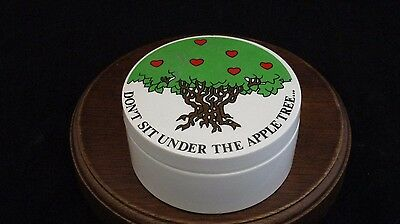 "Fitz and Floyd ""Don't Sit Under the Apple Tree..."" Porcelain Trinket Box Japan"