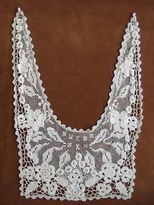 Antique White 3D Irish Crochet +Filet Combination Lace Yoke Collar Bridal Sewing