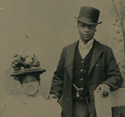 African American Couple, Affectionate Pose. Tintype Painted Background.
