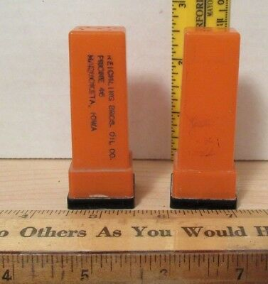 Vintage Salt & Pepper Shaker REICHLING BROS. OIL CO. Maquoketa Iowa Advertising