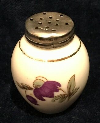 "Small Porcelain Vintage Salt Shaker with Silver Lid Stamped 925  ""S"", Signed LG."