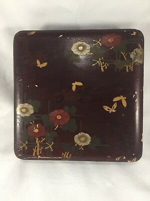 Beautiful Antique Japanese Lacquer Box Wood Maki-e Bird & Flowers